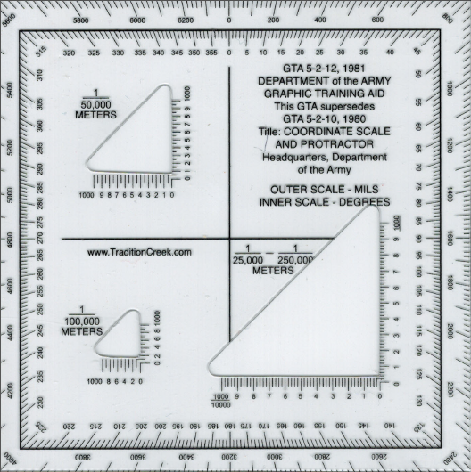 Tradition Creek Map Protractor - Mgrs maps for sale